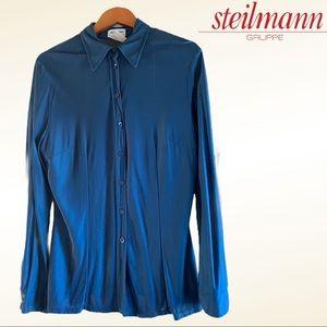 Steilmann Long Sleeve TEAL Button Down Shirt Large